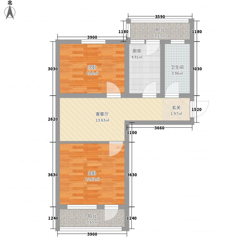 普利永庆街1号77.34㎡普利永庆街1号户型图户型D2室1厅1卫户型2室1厅1卫