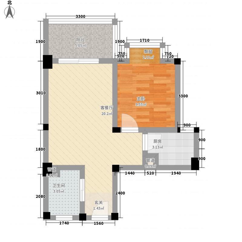 南辰景秀54.00㎡G型户型1室2厅1卫1厨