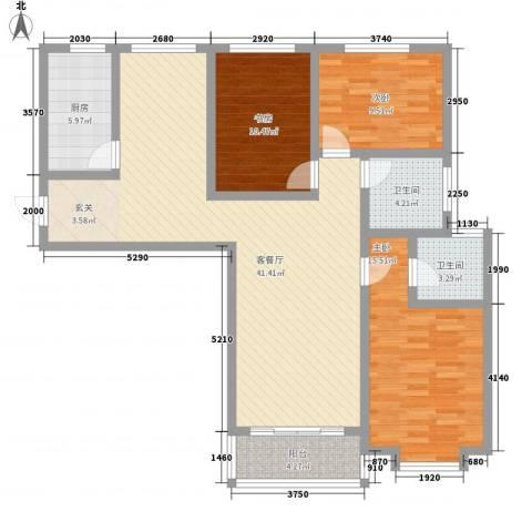 翡翠�亭3室1厅2卫1厨136.00㎡户型图
