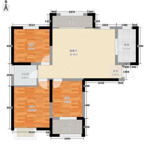 海尚花园3室1厅1卫1厨110.00㎡户型图