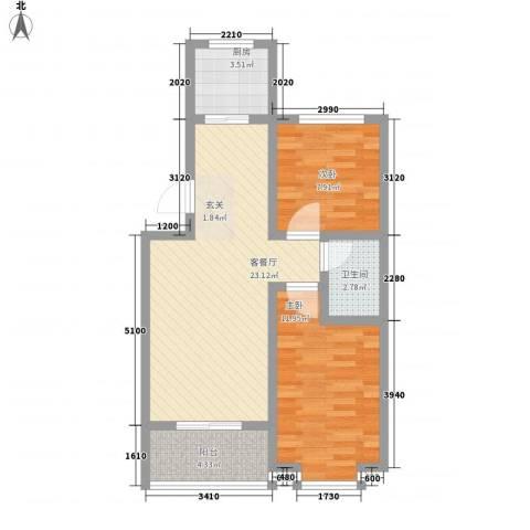 翡翠�亭2室1厅1卫1厨79.00㎡户型图