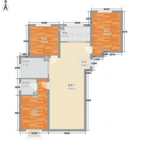 天裕小区3室1厅2卫1厨121.00㎡户型图