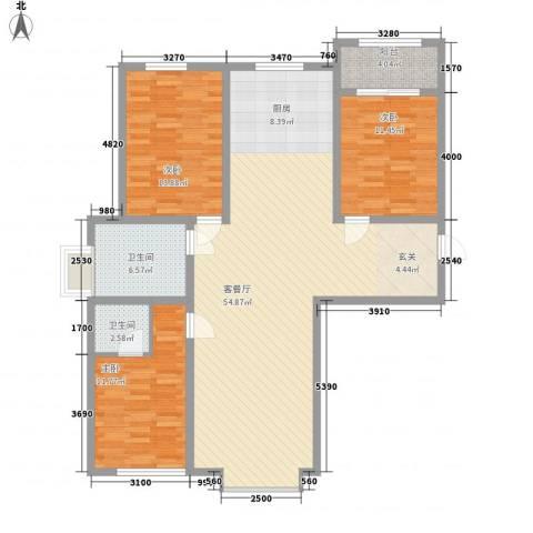 天裕小区3室1厅2卫0厨148.00㎡户型图
