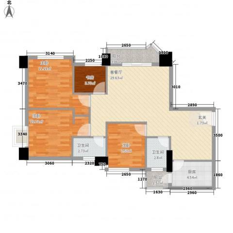 珠岛花园项目4室1厅2卫1厨110.00㎡户型图