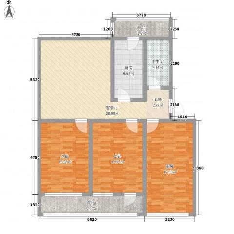 普利永庆街1号3室1厅1卫1厨139.00㎡户型图