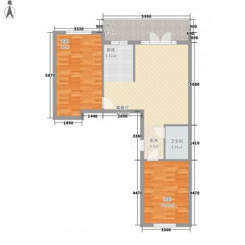 峰尚福成二期2室1厅1卫0厨74.15㎡户型图