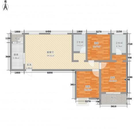 海尚花园3室1厅2卫1厨131.00㎡户型图