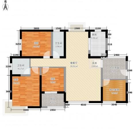 康城项目3室1厅2卫1厨138.00㎡户型图