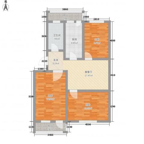 普利永庆街1号3室1厅1卫1厨108.00㎡户型图