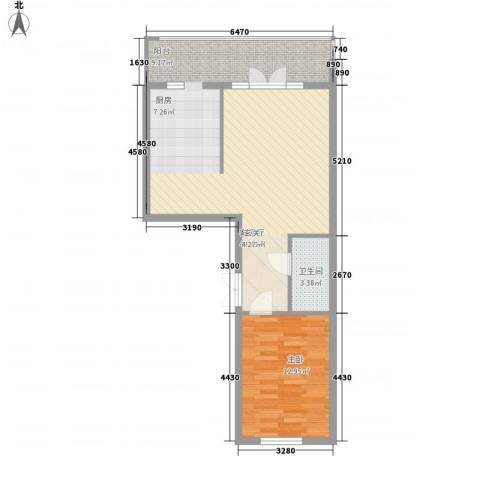 峰尚福成二期1室1厅1卫0厨58.76㎡户型图