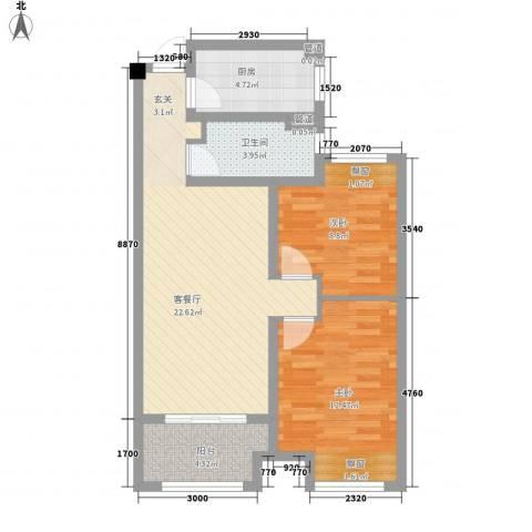 新安花苑2室1厅1卫1厨83.00㎡户型图