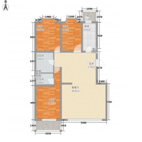 馨港庄园3室1厅2卫1厨147.00㎡户型图