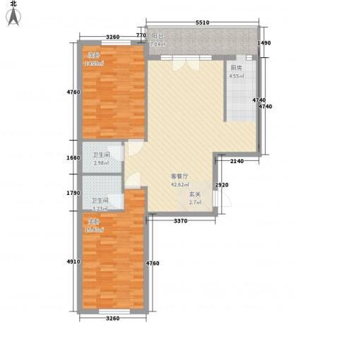 峰尚福成二期2室1厅2卫0厨78.39㎡户型图