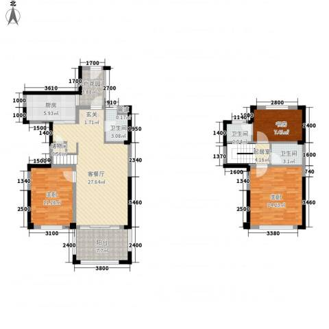 红荔花园3室1厅3卫1厨91.15㎡户型图