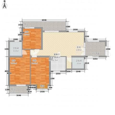 滨湖世纪城福徽苑3室1厅2卫1厨138.00㎡户型图