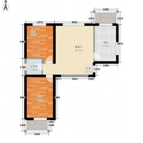 荷花盛世2室1厅1卫1厨82.00㎡户型图