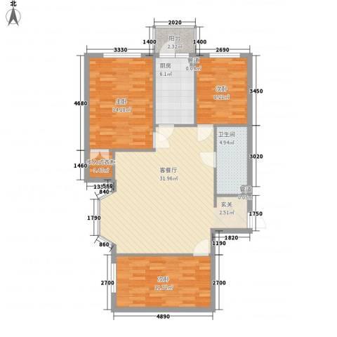 峰尚福成二期3室1厅1卫1厨80.97㎡户型图