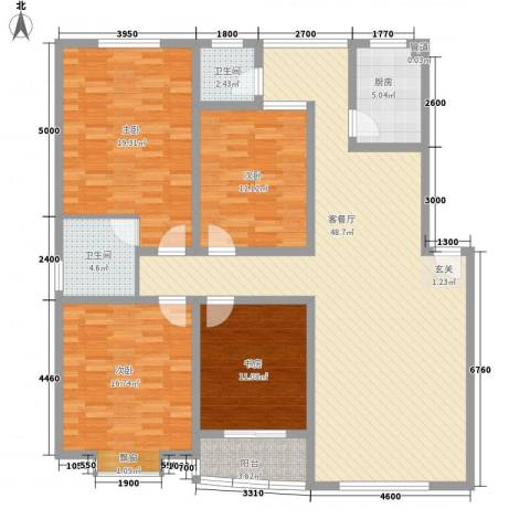 新安花苑4室1厅2卫1厨176.00㎡户型图