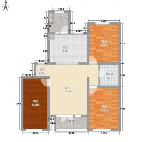 海尚花园3室1厅1卫1厨120.00㎡户型图
