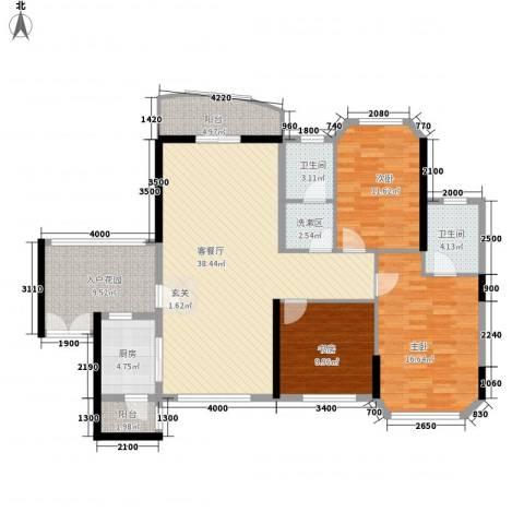 汇景银座3室1厅2卫1厨129.00㎡户型图