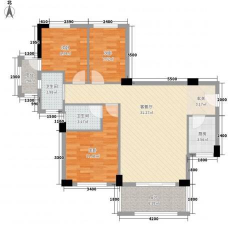 富盈山水华府别墅3室1厅2卫1厨99.00㎡户型图