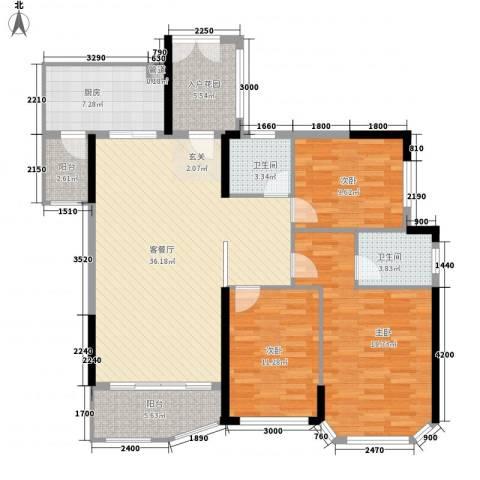 汇景银座3室1厅2卫1厨132.00㎡户型图