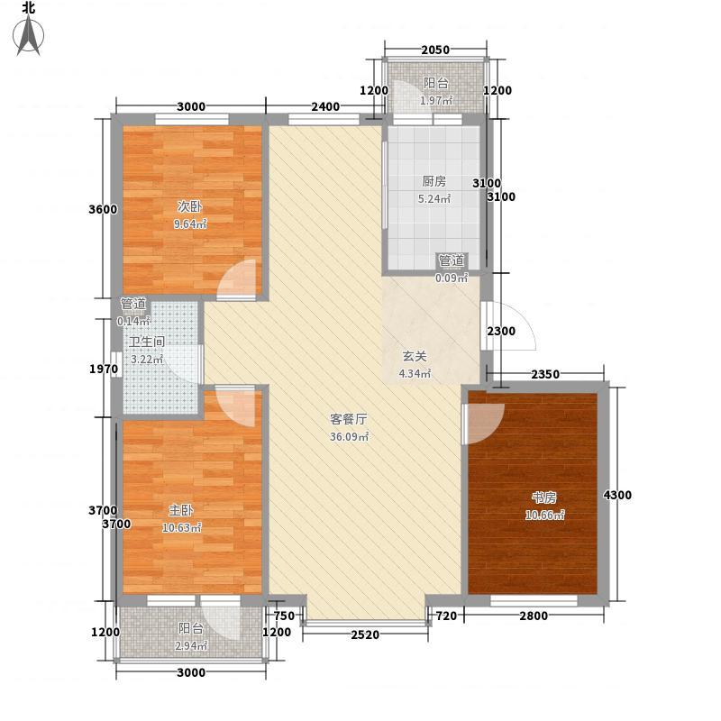 御湖湾18.00㎡E户型3室2厅1卫1厨