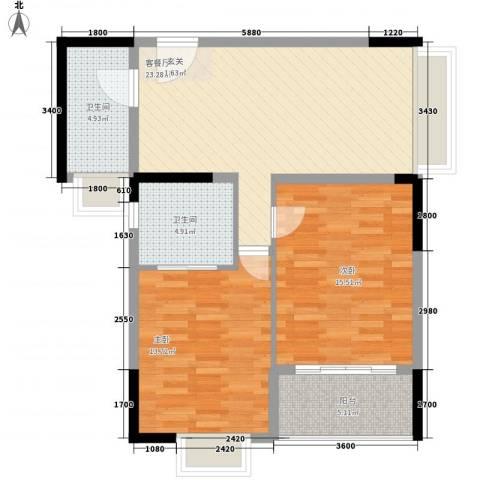 阳光水恋2室1厅2卫0厨96.00㎡户型图