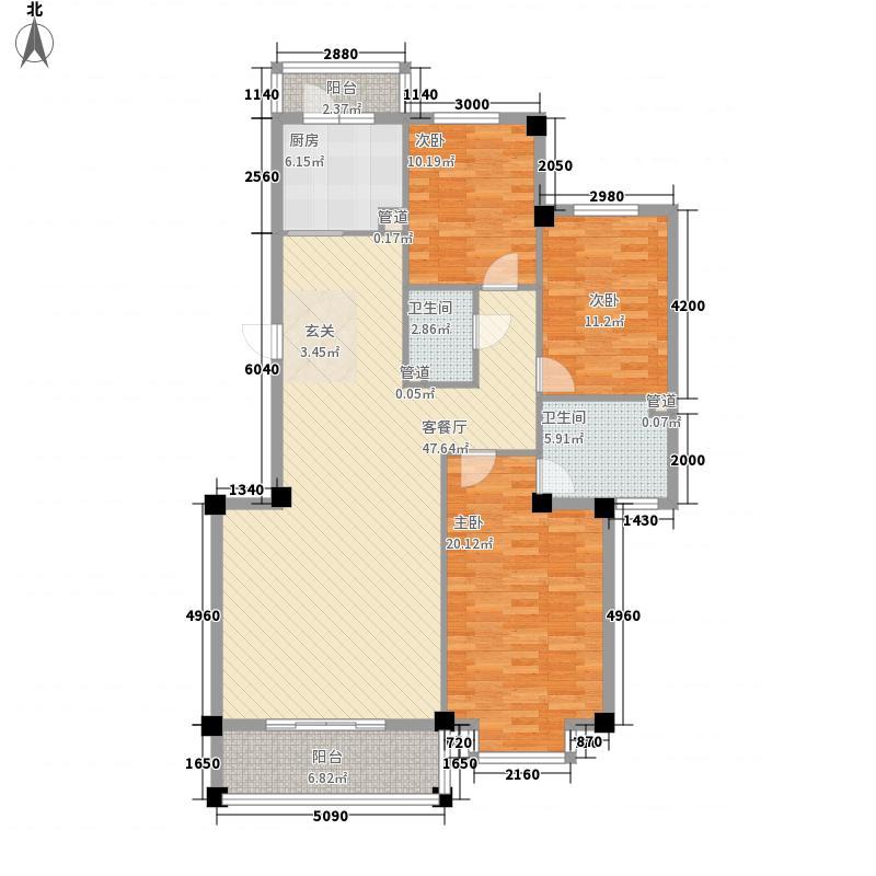 金海天花园户型三户型3室2厅2卫1厨