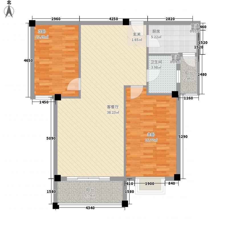 金海天花园户型一户型2室2厅1卫1厨