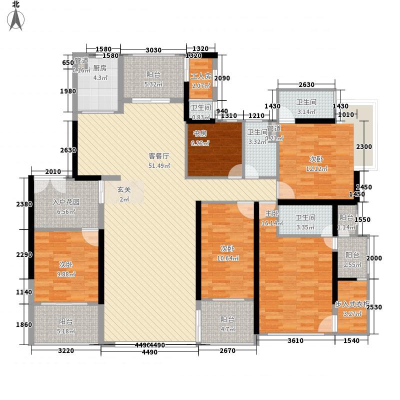 滨江一号216.00㎡一期1#4-37标准层03户型5室2厅3卫2厨