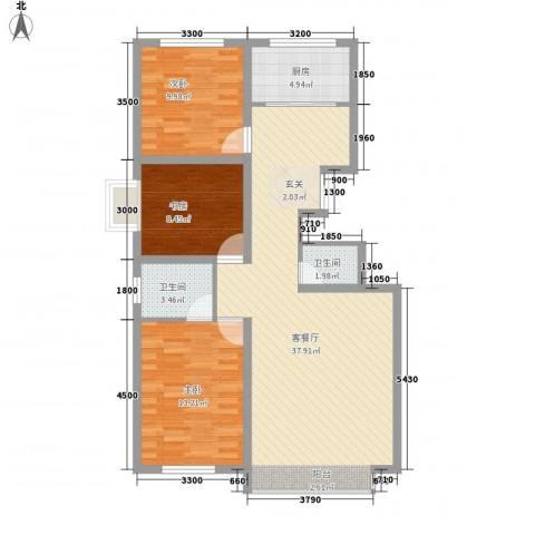 梓林水岸3室1厅2卫1厨113.00㎡户型图