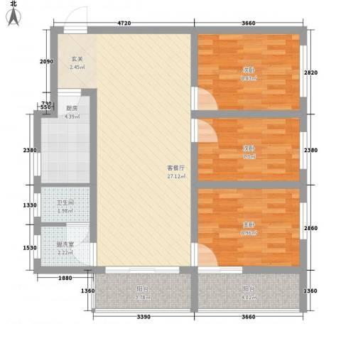 解放大街大院3室1厅1卫1厨100.00㎡户型图