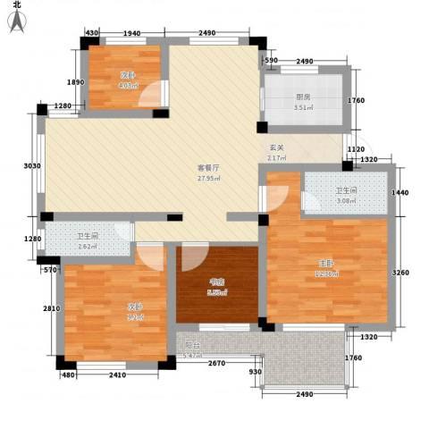 万峰小区二期4室1厅2卫1厨108.00㎡户型图