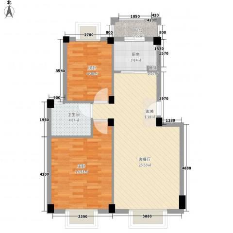 东方新城2室1厅1卫1厨75.00㎡户型图