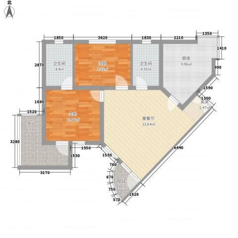华佳花园2室1厅2卫1厨99.00㎡户型图