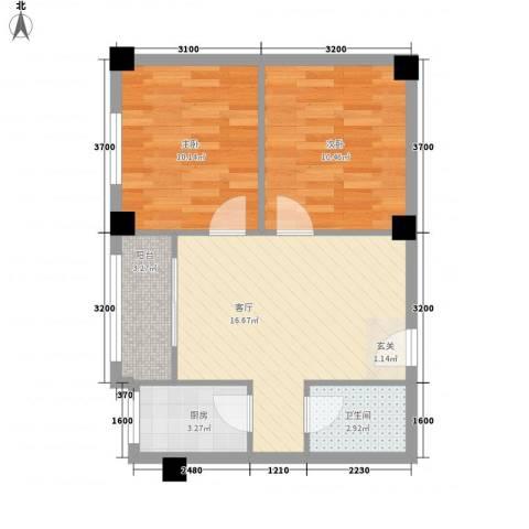 东花园河南2室1厅1卫1厨52.95㎡户型图
