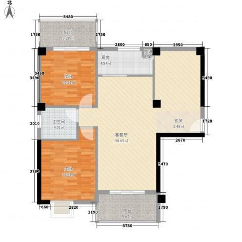 福泰海湾新城2室1厅1卫1厨81.72㎡户型图