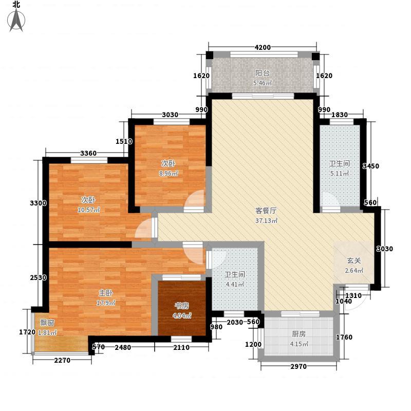 金宝花园A户型:四房两厅两卫,137.85平米户型4室