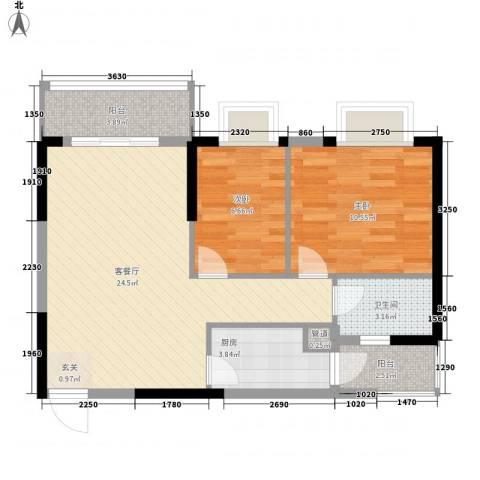 威斯广场2室1厅1卫1厨79.00㎡户型图