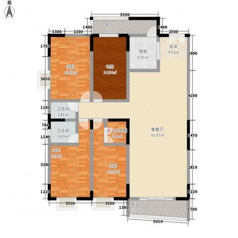 翡翠名都4室1厅2卫1厨190.00㎡户型图