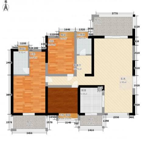 长城南苑3室1厅2卫1厨136.00㎡户型图