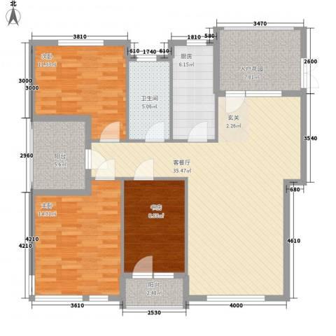 晨光山水3室1厅1卫1厨136.00㎡户型图