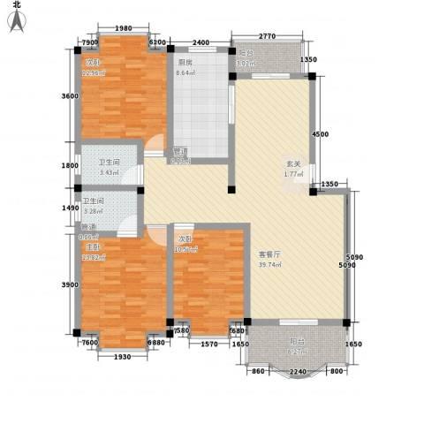 芳卉园3室1厅2卫1厨146.00㎡户型图