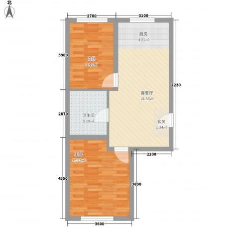万升前程国际2室1厅1卫0厨70.00㎡户型图