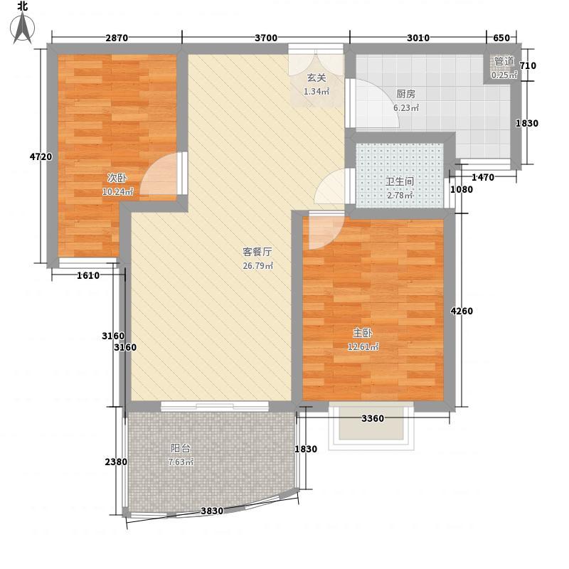 鸿运润园95.66㎡A-2户型2室2厅1卫1厨