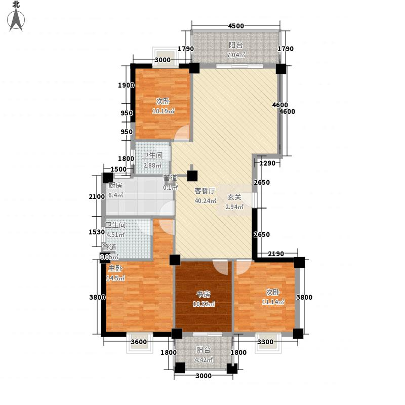 康城芳邻138.00㎡4#楼F户型4室2厅2卫1厨