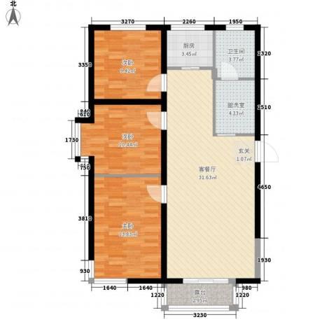 光明 学府世家3室1厅1卫1厨101.00㎡户型图