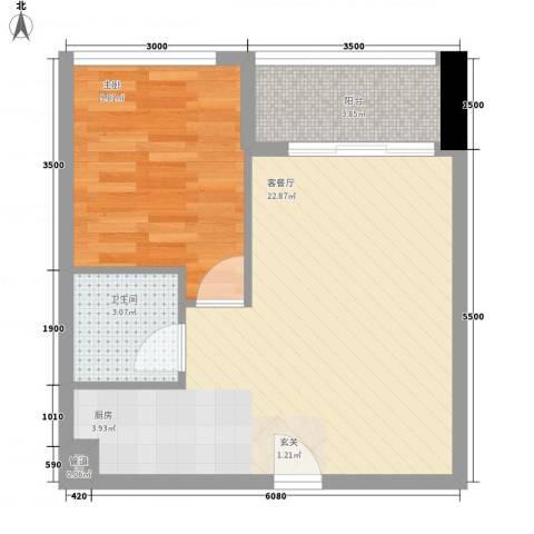 金沙湾花园1室1厅1卫0厨120.00㎡户型图