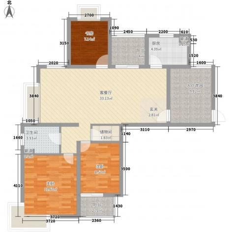 翠园世家3室1厅1卫1厨129.00㎡户型图